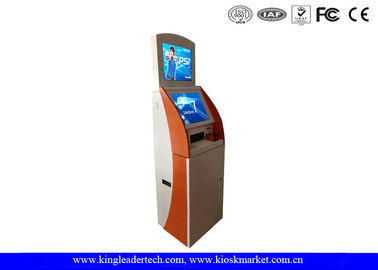 High Visible Two Displays Tall Free Stand Touch Scree Kiosk With Metal Keypad , Thermal Printer